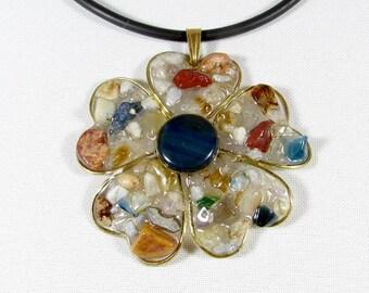 Elegant flower pendant made of bronze and mosaic of gemstones - agate, quartz, conrelian, citrine, lapis lazuli