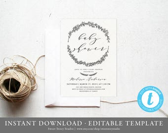 Instant Download | Rustic Wreath Baby Shower Invitation Card | Editable, Printable | Watercolor, Leaves, Wreath | DC024