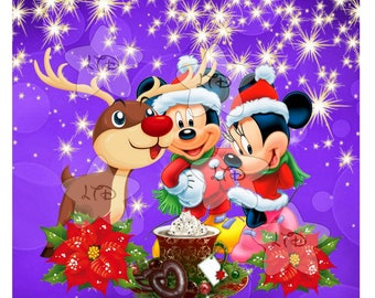 Mickey , Minnie and Rudolph Iron On Transfer