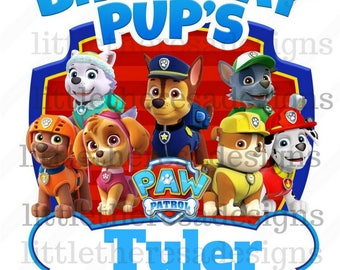 Paw Patrol Birthday Pup's Family Transfers,Digital Transfers,Digital Iron Ons,Diy