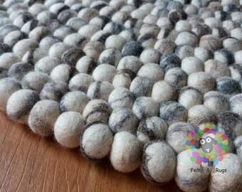 Round Felt Ball Rug. Tie Dye  pom pom . Pebble wool Rug . Living Room Deco .100 % wool  (Free Shipping)