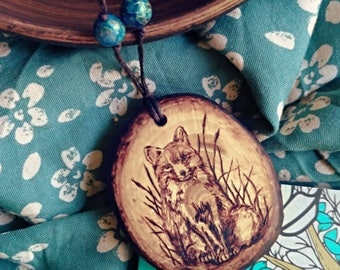 Fox sweet wooden necklace – pyrography foxy jewelry wood – forest pendant fox wood burning – pyrography art fox necklace gift for mori girl