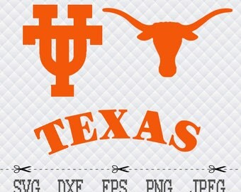 Texas Longhorns  Logo SVG DXF EPS Png Cut Vector File Silhouette Cameo Cricut Design Vinyl Decal Template Stencill Heat Transfer Iron Tshirt