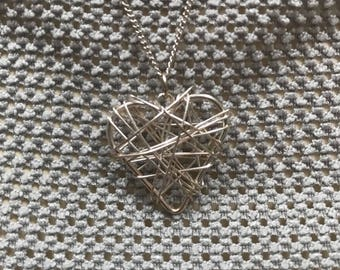 Silver wire heart necklace