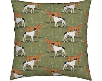 "17"" x 17"" Greyhound Decorative Pillow Cushion Linen/Cotton/Canvas, Eco Friendly Print , Washable"