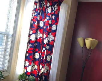 Vintage 1960's Red White and Blue Floral Dapery