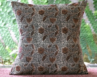 floral | 16x26 | 20x20 | 26x26 | batik | brown white | pillow cover | throw pillow | cushion cover | decorative pillow | home decor | gift