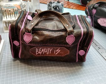 Leather handmade Mini duffel bag, make up bag, on the go bag
