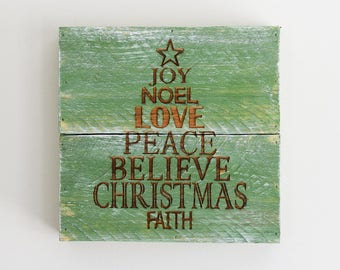 Engraved Pallet Wood Sign- Joy Noel Love Peace Believe Christmas Tree | Gift | Religious | Home Decor | Wall Hanging | Rustic