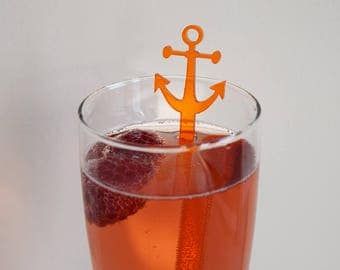Acrylic Anchor Drink Stirrers   Set of 6   Parties   Events   Holidays   Wedding   Engagement   Shower   Decor   Acrylic   Laser Cut