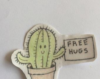 Free Hugs Cactus Sticker