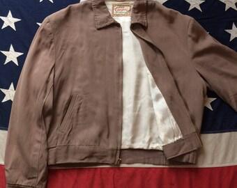 "True Vintage 1950's Campus Sportswear Beige Gaberdine Ricky Jacket L/Large 44"""