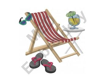 Beach Chair Scene - Machine Embroidery Design