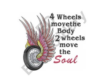 Motorcycle Wheel - Machine Embroidery Design, Move The Soul