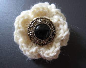 Natural Wool Crocheted Flower Brooches with Vintage Button Centers