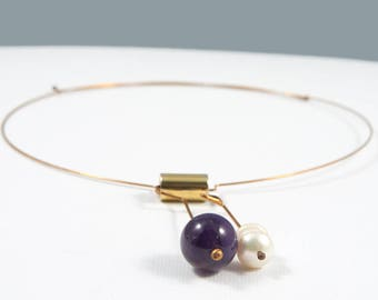 Bronze necklace, Stone necklace, Bronze jewelry, Amethyst necklace, Amethyst pendant, Metal sculpture, Brass jewel, Gift for women, For her