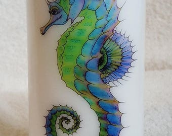 Decorative Hand Crafted Seahorse and Seashells Pillar Candle, Home Decor