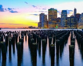 Brooklyn Bridge Park, Brooklyn, New York, Sunset, New York skyline, NYC
