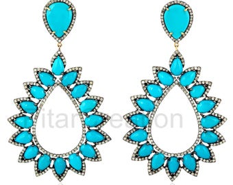 925 Sterling Silver Pave Diamond Turquoise Gemstone Dangle Earrings,  Turquoise Dangle Earrings