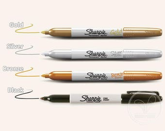 Sharpie Fine Point Permanent Markers - Gold, Silver, Bronze, Black