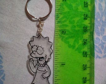 Lisa Simpson Keychain echo hand, shrink plastic, also personalize the keychain to your liking!