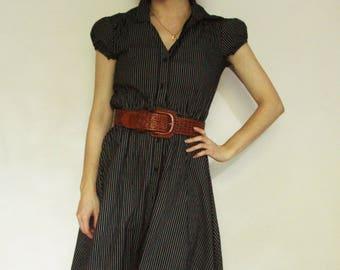 90s Black Striped Button-Up Dress XS S