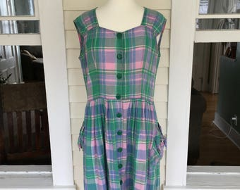 1980's does 1950's Green and Pink Plaid Dress w/ Pockets