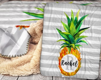 Personalized Pineapple Blanket - Sherpa Throw Blanket -  Pineapple Monogram Name Blanket - Personalized Name Blanket - Baby Blanket