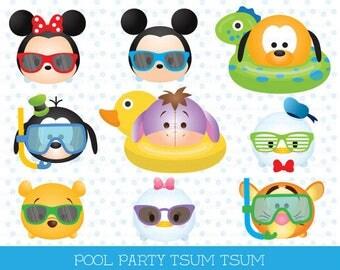 Tsum tsum clipart, tsum tsum graphics, disney tsum tsum, tsum tsum pool party clipart, party, pool party, summer, cute graphics