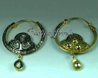 Victorian style 2. 50cts rose cut diamond sterling silver hoops bali earrings