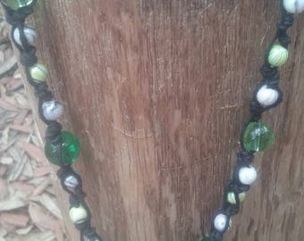 Hemp plastic and glass bead necklace black and green 18 inch lobster clasp closure