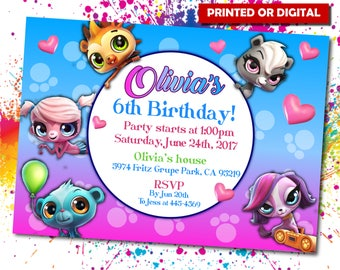 Little Pet Shop Printed Printed Invitation, Little Pet Shop invite, Little Pet Shop Birthday, Little Pet Shop, Little Pet Shop, IB 028