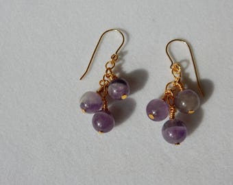 Genuine Amethyst & Gold Waterfall Earrings