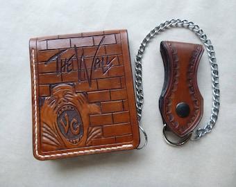 Leather billfold wallet,handmade,hand carved