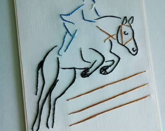 Horse racing gift Horse lovers gifts Horse gifts Equestrian gift Embroidered horse Equine card Horse invitation Embroider card Jumping