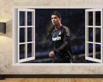 Ronaldo wall decal etsy for Cristiano ronaldo wall mural
