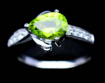 Peridot and zirconium ring gold plated S925 silver
