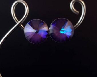 Soft Purple Swarovski Stud Earrings