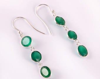 Green onyx 92.5 sterling silver earring