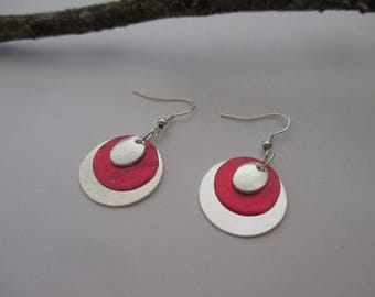Sequin silver and mother-of-pearl earrings