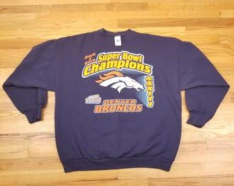 Vintage 90s Denver Broncos Super Bowl XXXIII Champions Sweatshirt Sweater T Shirt Size 2XL Logo 7