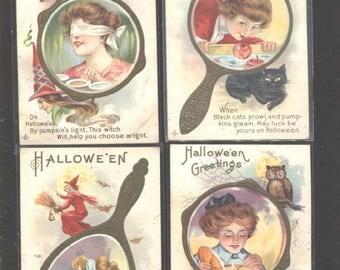 4 Vintage Halloween Postcards all mirror series rare