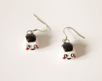 Onigiri earrings, earrings, fimo, polymer clay, clay food, kawaii, cute and polymer