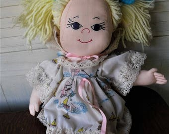 Handmade Doll/ Vintage Collectible/ Holly Hobbie Fabric Clothing/ Not a Toy/ ShabbySuzi Collectible/ Handmade Thrift