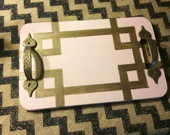 Repurposed handpainted wood serving tray w handles