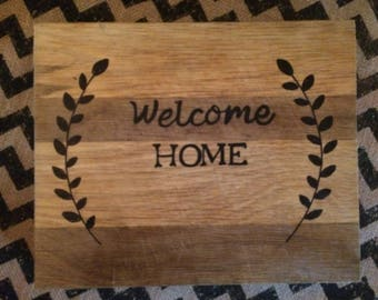 Repurposed Welcome Home Wood Board
