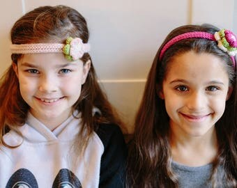 Girls Cashmere/Merino Hand Knit Flower Headband