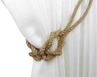 Jute knot tiebacks, Curtain tiebacks, Tie back, Beach decor, Rope tie back, Jute decor, Cottage chic, Drapery tiebacks rope, Jute decoration