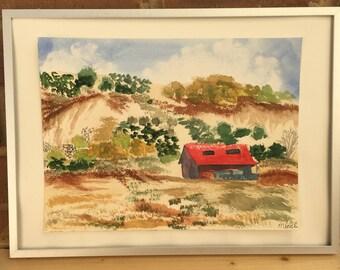 Original watercolor desert landscape painting