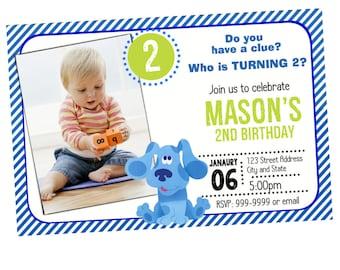 Blues Clues Birthday Invitation, Blues Clues Birthday Invitations, Blues Clues Invite, Blues Clues Invitation, Blues Clues